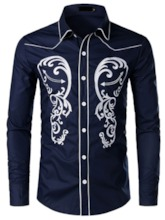 Dark Blue/ White/Black Korean Lapel Color Block Embroidery Single-Breasted Men's Shirt