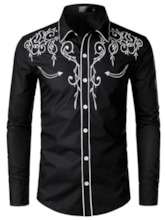 Multicolor Embroidery PrintLapel Button Korean Color Block Single-Breasted Men's Shirt