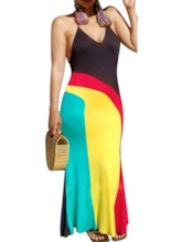 Sleeveless Patchwork V-Neck Halter Women's Maxi Dress