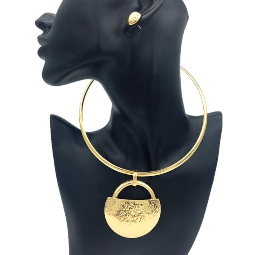 African Gold Nigerian Earrings Necklace Jewelry Set