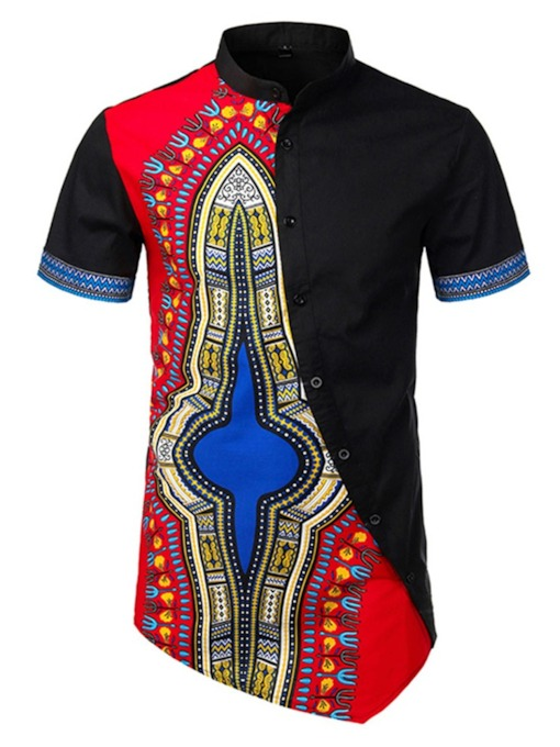 African Fashion Multicolor Stand Collar Color Block European Print Summer Men's Shirt