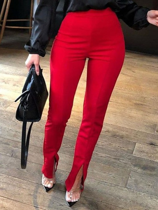 Skinny Plain Pencil Pants Women's Casual Pants