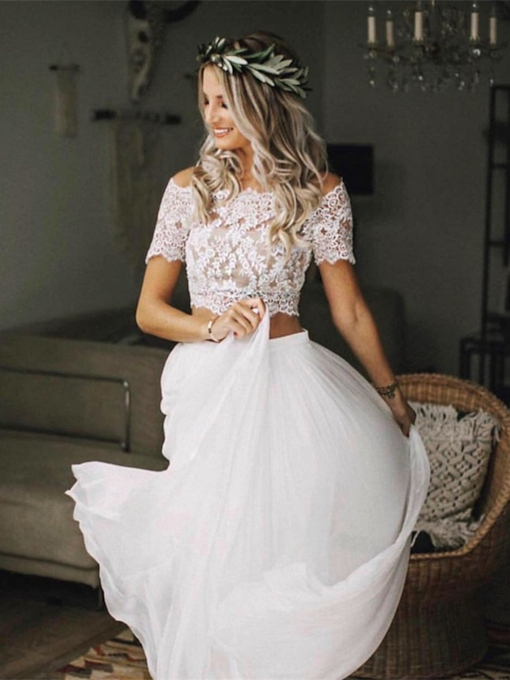 Two Pieces Short Sleeves Lace Beach Wedding Dress