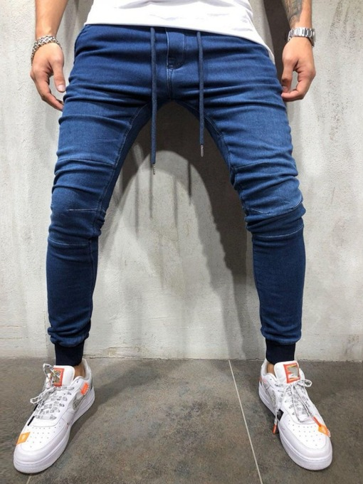 Slim-Fit Pedicure Jeans Lace-Up Low Waist Pocket Pencil Pants Plain Men's Jeans