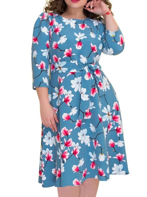 col rond manches 3/4 manches mi-mollet robe pour femme