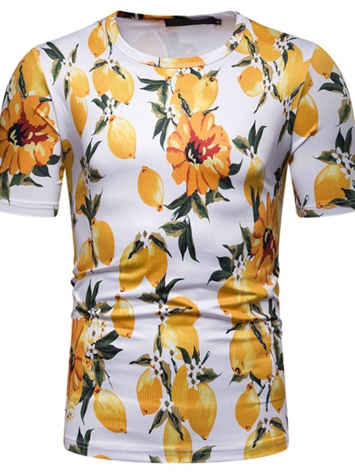 Fashion Floral Print Lemon Color Block Round Neck Short Sleeve Men's T-shirt
