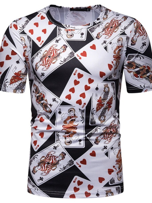 Fashion Luxury Design Playing Cards 3D Printed Stylish Round Neck Letter Short Sleeve Men's T-shirt