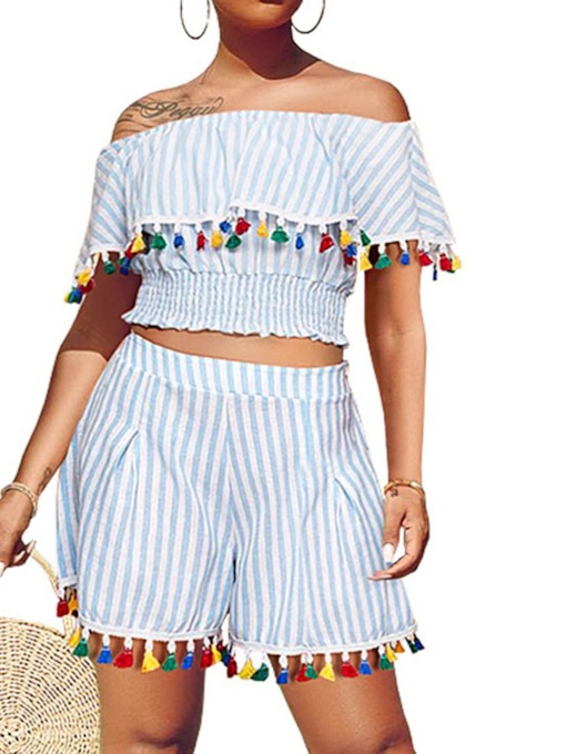 Tassel Stripe T-Shirt Western Pullover Women's Two Piece Sets