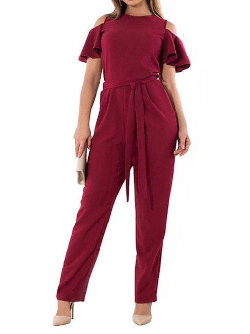 Plus Size Plain Belt Full Length Western Slim Women's Jumpsuit