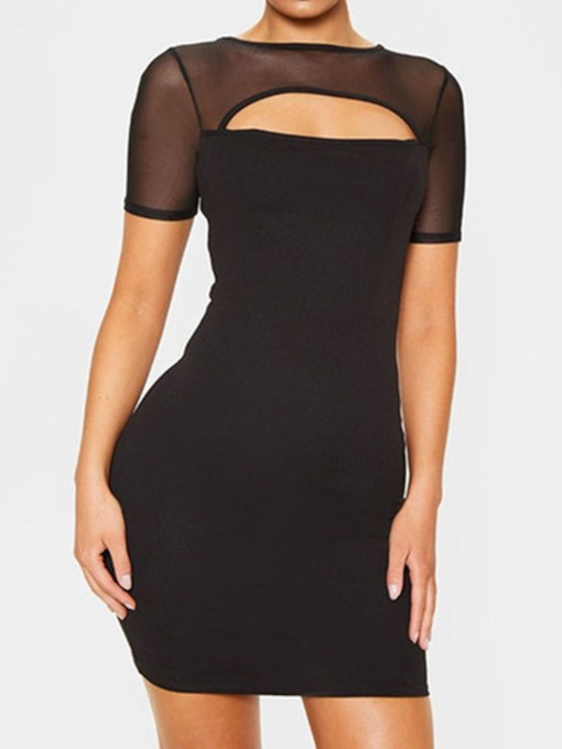 Hollow Round Neck Short Sleeve Women's Bodycon Dress