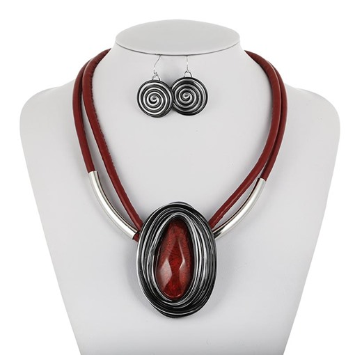 Gemmed Vintage Red-Color Necklace Women Jewelry Set