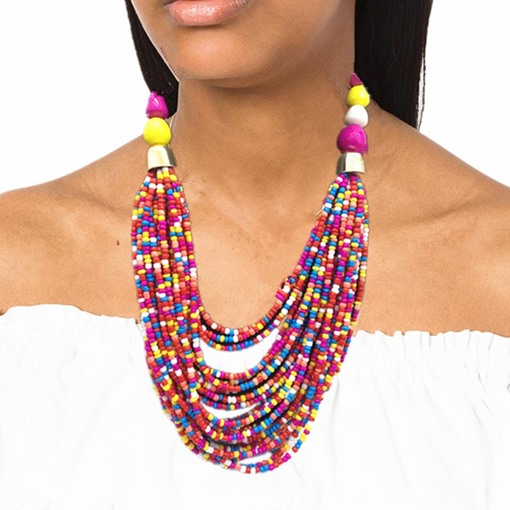 Ethnic Colorful Beading Earrings Necklace Jewelry Set