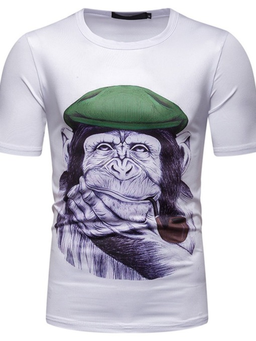 Animal Orangutan Print Casual Color Block Round Neck Short Sleeve Men's T-shirt