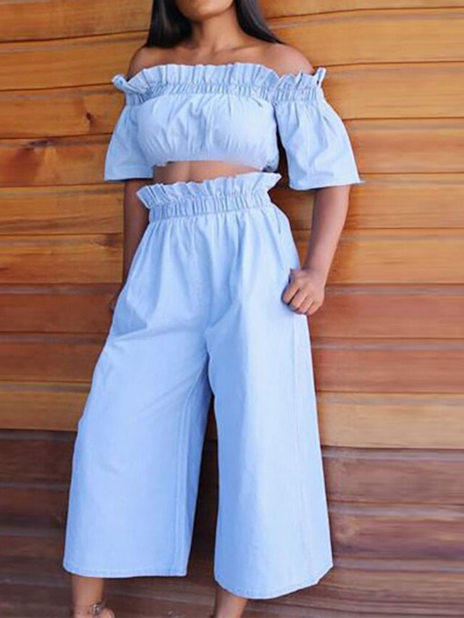 Plain Western T-Shirt Off Shoulder Women's Two Piece Sets