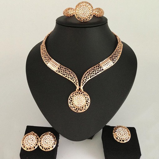 Golden Color Diamante Nigerian Jewelry Sets for Women