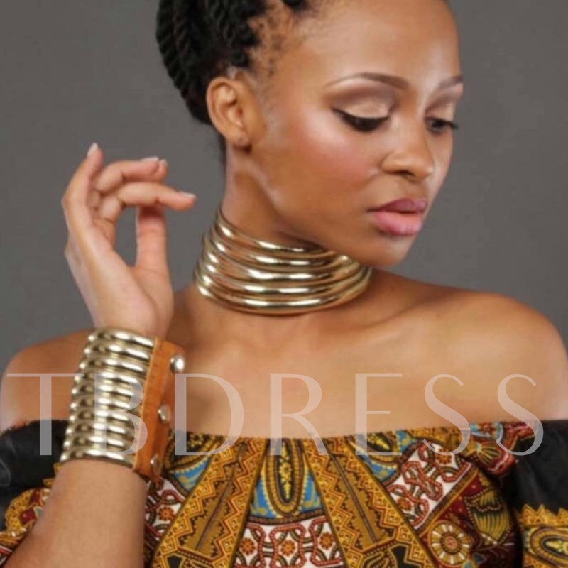 Gold Color Nigerian African Alloy Jewelry Set