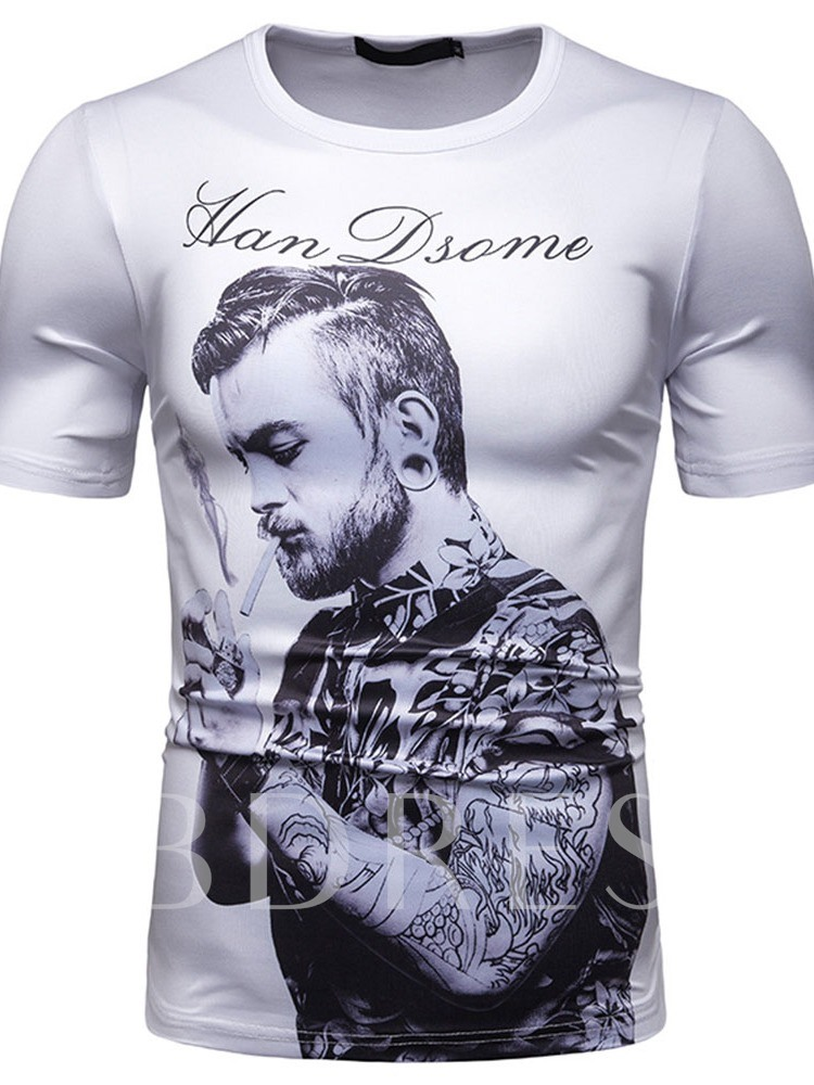 Casual Cool Print Round Neck Letter Short Sleeve Men's T-shirt