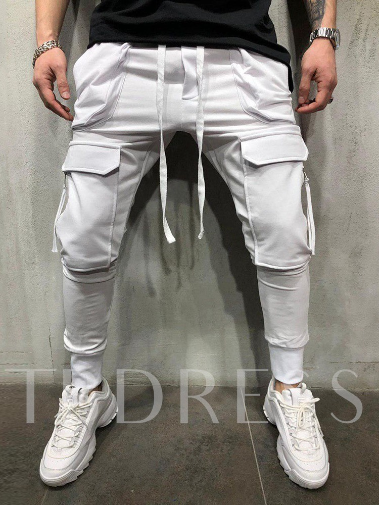 Lace-Up Low Waist Micro-Elastic Pocket Overall Plain Lace-Up Men's Casual Pants
