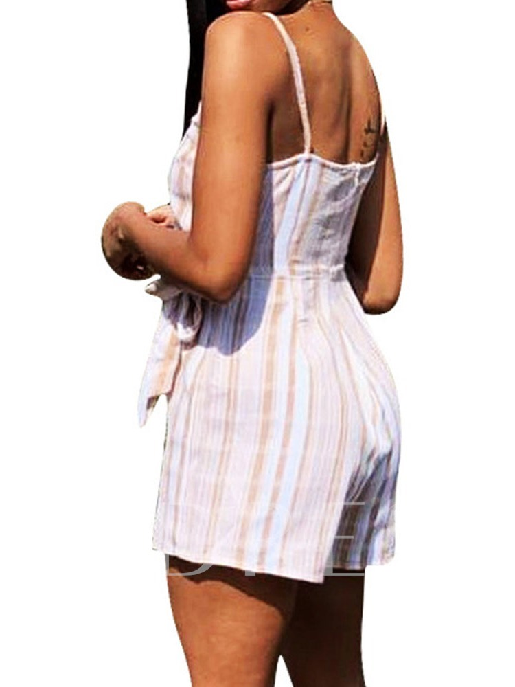 Shorts Western Lace Stripe Slim Women's Romper