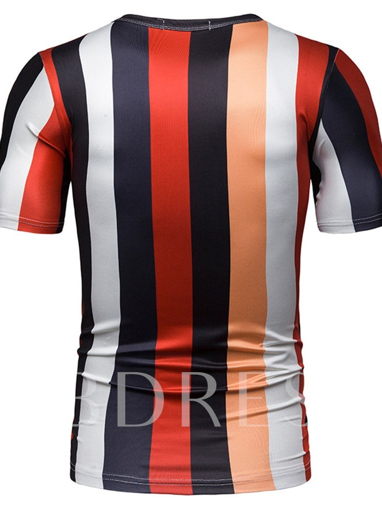 New Contrast Color Block Stripe Print Round Neck Casual Slim Wrapped Men's T-shirt