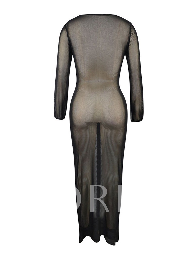 See-Through Long Sleeve V-Neck Pullover Women's Bodycon Dress