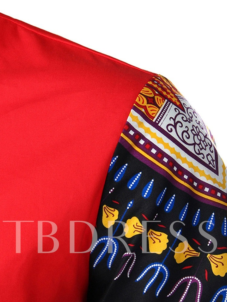 African Fashion Red/Blue Color Block European Stand Collar Print Summer Men's Shirt
