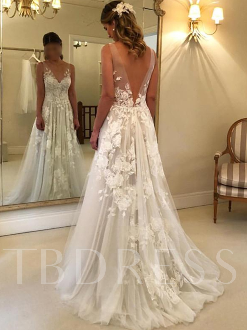 Sleeveless V-Neck Appliques Beach Country Wedding Dress 2019