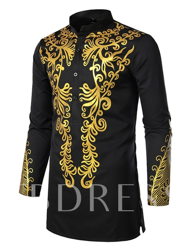 African Fashion White/Black Color Print Floral European Stand Collar Summer Men's Shirt