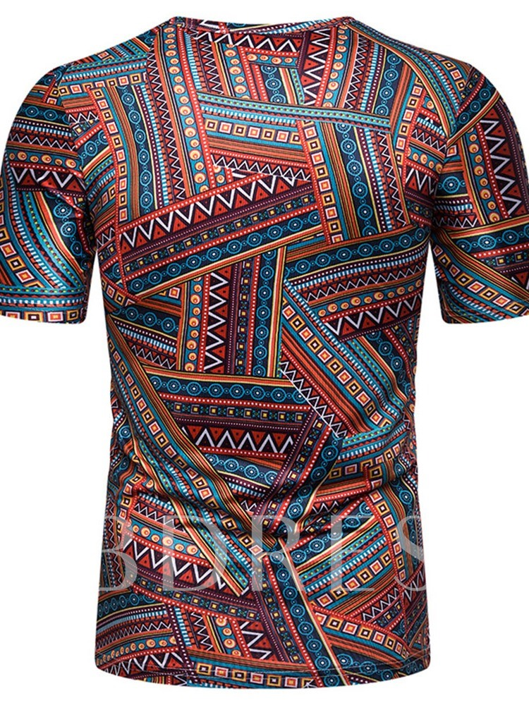 African Fashion Print Color Block Round Neck Casual Wrapped Men's T-shirt