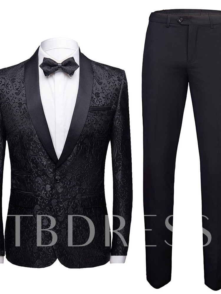 Black/White/Burgundy/Blue Color Embroidery Print One Button Blazer Color Block Fashion Men's Dress Suit