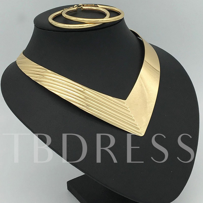 Gold Color V Type African Women Nigerian Jewelry Set