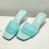 Chunky Heel Slip-On Candy Color Women's Slippers