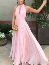 Pleats Hollow Halter Bridesmaid Dress 2019