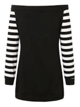Plus Size Long Sleeve Mid-Length Stripe Off Shoulder Women's T-Shirt