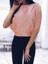 Round Neck Plain Bowknot Sleeveless Women's Blouse