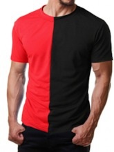 Classic Fashion Red/White Color Round Neck Color Block Casual Loose Men's T-shirt