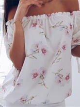Regular Off Shoulder Pleated Floral Three-Quarter Sleeve Women's Blouse