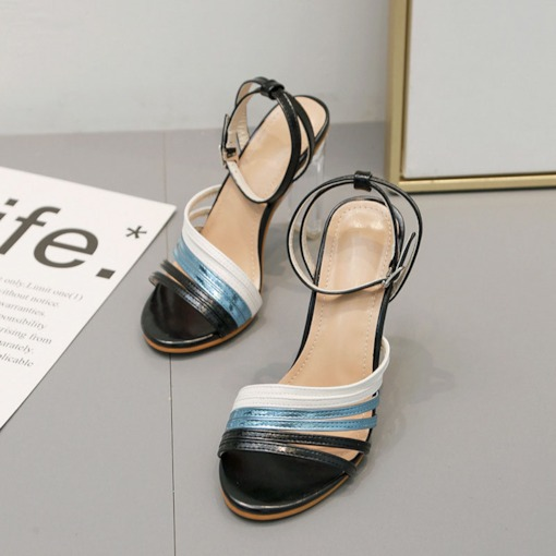 Open Toe Buckle Ankle Strap Chunky Heel Color Block Sandals