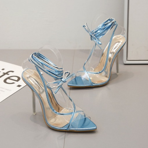 Peep Toe Stiletto Heel Strappy Lace-Up See Through Sandals