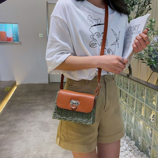 Grass Lock Flap Crossbody Bags