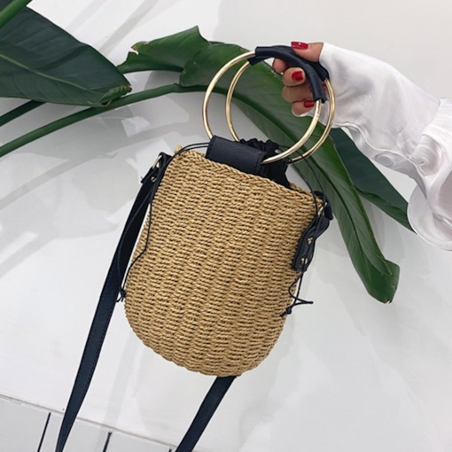 Grass Knitted Barrel-Shaped Tote Bags