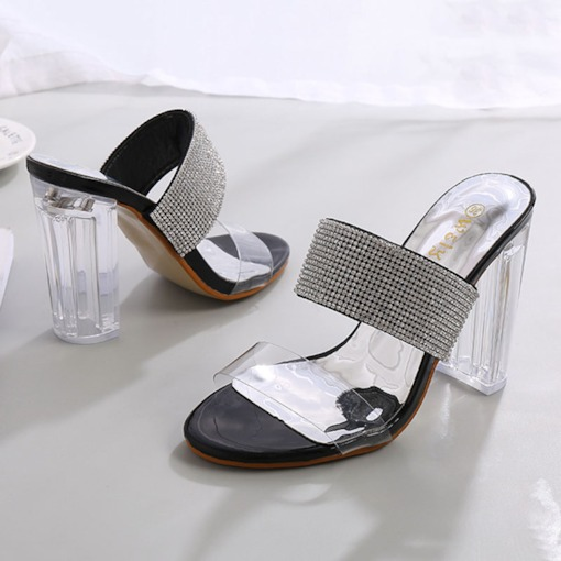 Slip-On Rhinestone Chunky Heel Summer Women's Sandals