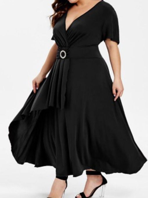 Plus Size V-Neck Pleated Short Sleeve Mid Waist Women's Day Dress