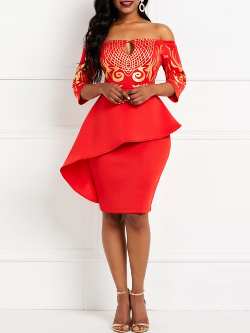 African Fashion Three-Quarter Sleeve Patchwork Off Shoulder Plain Women's Bodycon Dress
