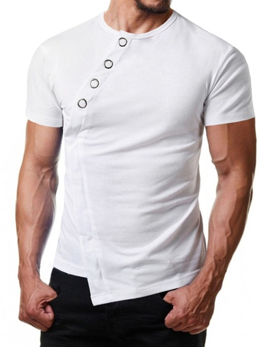 Classic White/Black Color Round Neck Plain Short Sleeve Casual Men's T-shirt