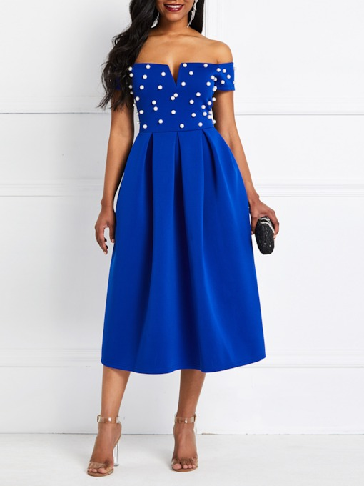 Bead Short Sleeve Off-The-Shoulder Women's Day Dress