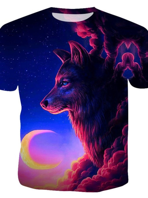 Classic Retro Creation Howling Wolf Moon Planets Casual Round Neck Men's T-Shirt