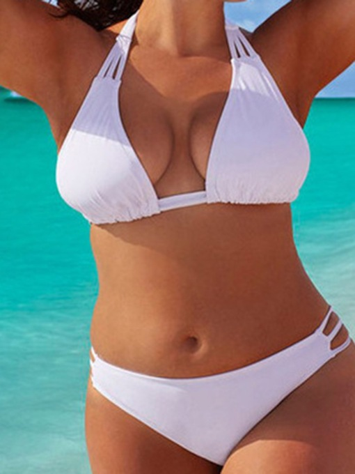 Plus Size Plain Bikini Set Western Women's Swimwear