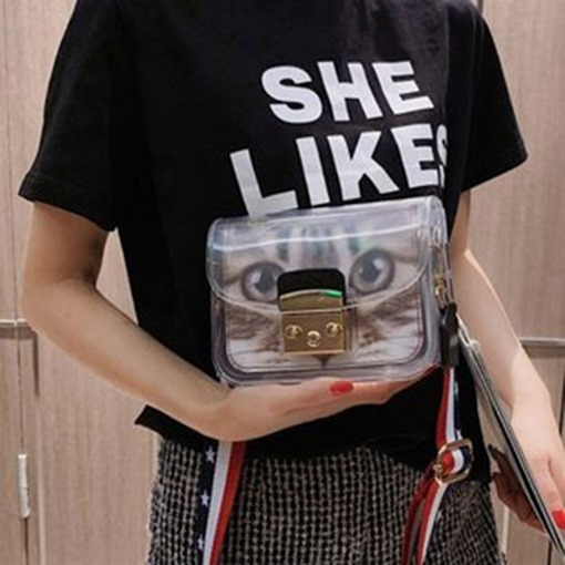 PU Lock Cartoon Rectangle Tote Bags