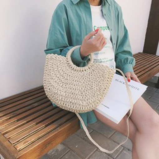 Grass Plain Knitted Barrel-Shaped Tote Bags